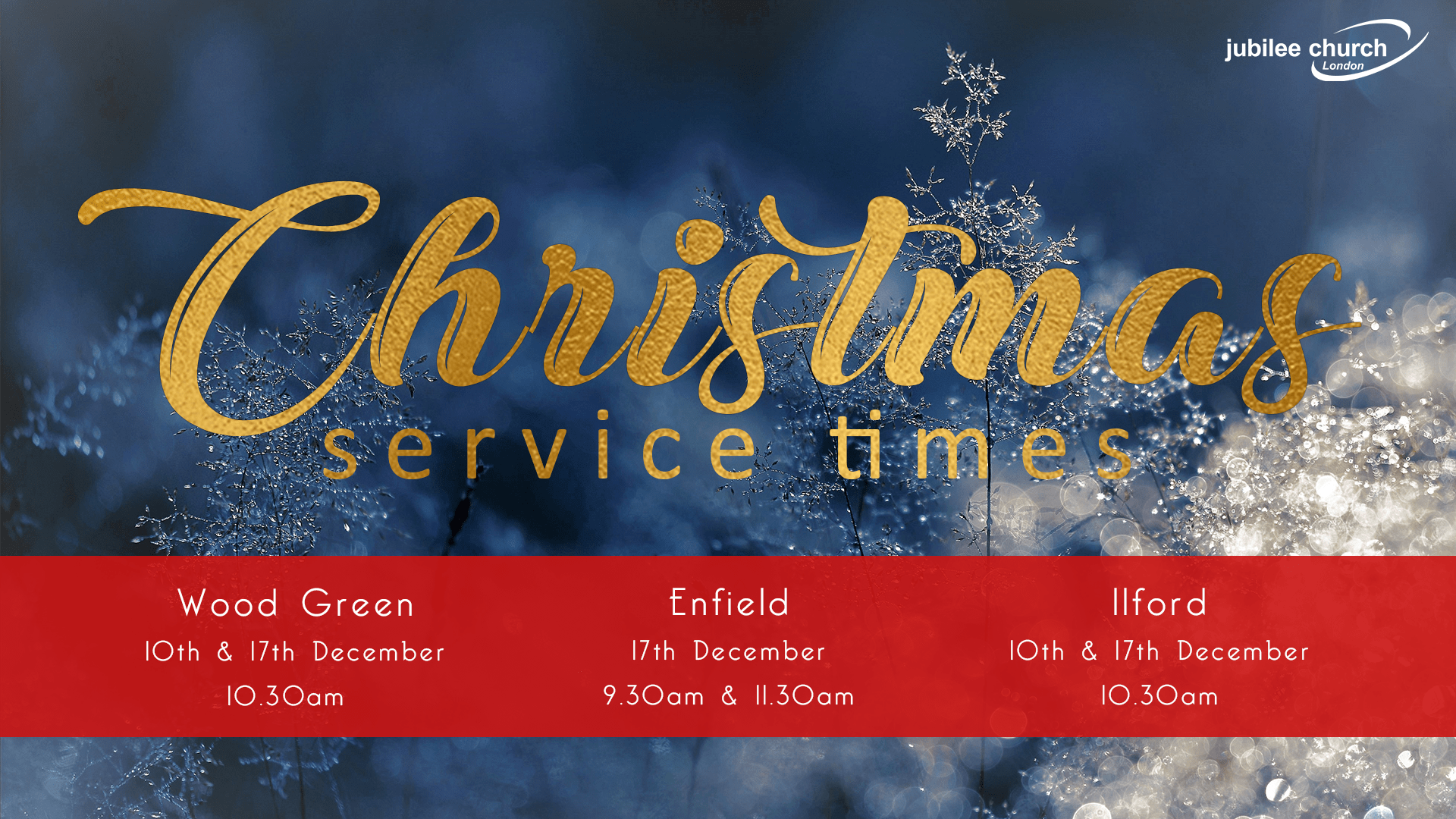 Christmas service times at Jubilee Church